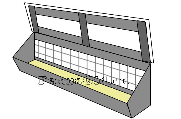Схема кормушки из фанеры и досок для кур